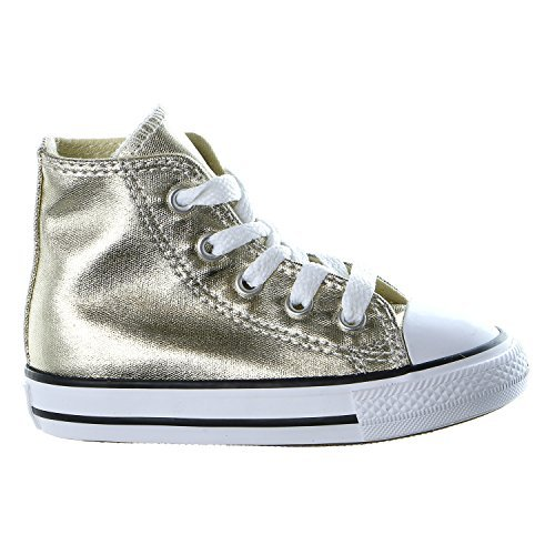 CONVERSE-TODDLER-All-STAR-HI-SHOES-LIGHT-GOLD-BLACK-WHITE-SIZE-7