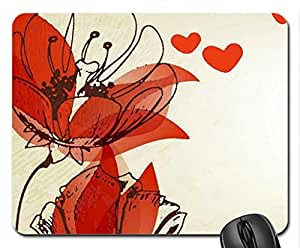Poppies and Hearts Mouse Pad, Mousepad (Flowers Mouse Pad, 10.2 x 8.3 x 0.12 inches)