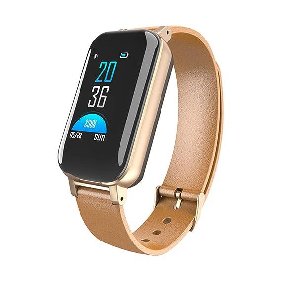 Smartwatches T89 TWS Binaural Inteligente Auricular Bluetooth Pulsera de Fitness Monitor de Ritmo Cardíaco Pulsera Inteligente Reloj Deportivo Hombres Mujeres,Gold