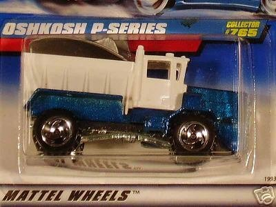 Mattel Hot Wheels 1998 1:64 Scale Blue & White Oshkosh P-Series Plow Die Cast Car Collector #765 - Pro Rodz Series