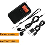 Portable Pocket AM/FM 2 Band LCD Telescopic Antenna Radio Receiver Powered by 2 x AAA Battery (NOT Included),Each Band Supports up to 29 Radio Stations