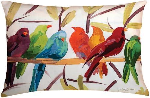 Manual Weavers 24 Outdoor Deck and Patio Flocked Together Bird Rectangular Throw Pillow
