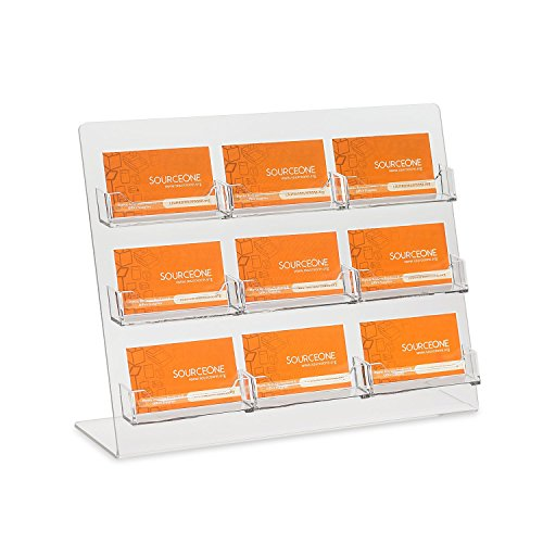 Pocket Business Card Display - Source One Premium Counter Top Business Card Holder/Gift Card Display with 9 Pockets (9PCTOPBC)