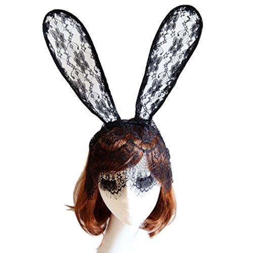 [Headband, RIUADA Sexy Bunny Long Ear Lace Bob Veil Mask Headband Headwrap Halloween Party] (Halloween Animatronics Sale)