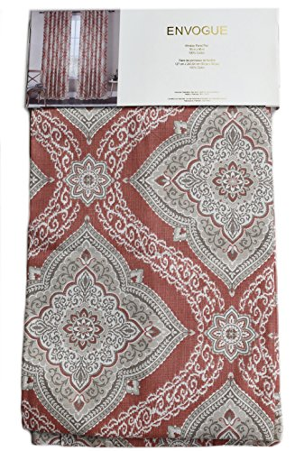 Envogue Ikat Ornate Damask Medallions 50-by-96-inches 100% Cotton Set of 2 Extra Long Window Curtains Panels Pair Drapery Terracotta Rust Red Grey Taupe Ivory (Damask Drapery)