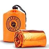 Terra Beast Emergency Sleeping Bag - For Shelter and Protection That Fits in Your Hand - All Weather Survival Bivy For Camping Hiking and Outdoors - Easy To Use and Reusable - Includes Water Resistant Carry Bag