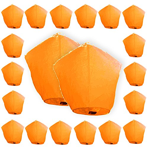Just-Artifacts-ECO-Wire-Free-Flying-Chinese-Sky-Lanterns-Set-of-20-Diamond-Orange-100-Biodegradable-Environmentally-Friendly-Lanterns