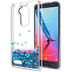 ZTE Imperial Max Z963U Case,ZTE Blade Max 3 Z986 / Zmax Pro Z981 / Max XL N9560 / Carry Liquid Case,LeYi Moving Glitter Shiny Quicksand Girls Women Clear TPU Protective Case for ZTE Z981 ZX Blue