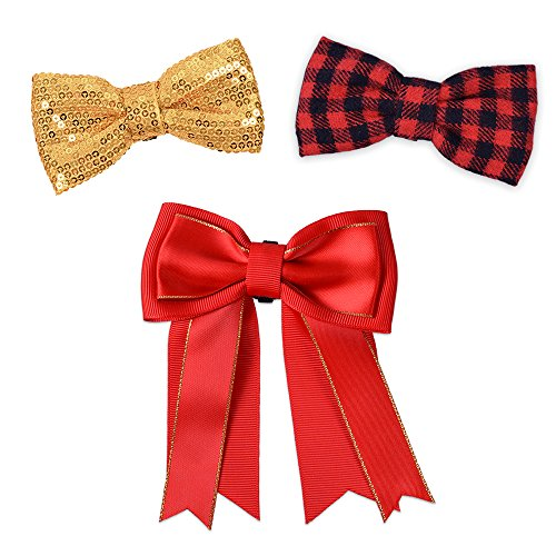 Tie Accessory Bow (Bow & Arrow Pet Dog Collar Accessories, Two Dog Collar Bow Ties and One Bow, Slide On Attachment, Red and Gold)