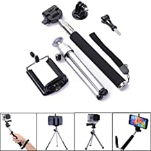 Qkoo Selfie Handheld Extendable Stick Pole Monopod + Tripod Adapter Mount + Mini Tripod + Phone Holder Mount + Screw, Kit Set for Gopro Hero 2 3 3+ 4 SJ4000 SJ5000 Camera iPhone 6 Plus 5 6 5S 5C 4 4S Samsung Galaxy S5 S4 S3 Note 4 3 2 Sony HTC LG