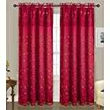RT Designers Collection Easton Embroidered 54 x 84 in. Double Rod Pocket Curtain Panel w/ Attached 18 in. Valance, Burgundy