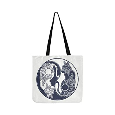 Amazon.com: Bolso bandolera de lona con diseño de gatos Yin ...
