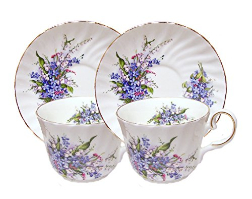 FORGET ME NOT - SET OF 2 - Elegant Tea Cup and Saucer, Fine
