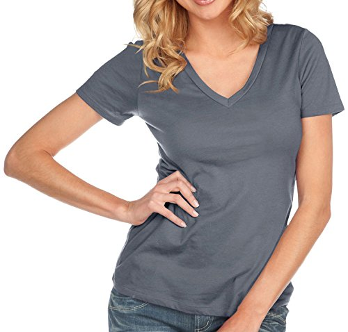 Kavio! Women Sheer Jersey Deep V Neck Short Sleeve Titanium - Store Clothing Ti