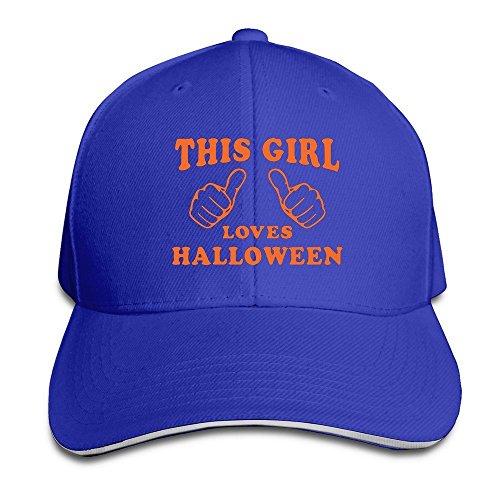 Nhl Halloween Costumes 2016 (Runy Custom This Girl Loves Halloween Adjustable Sanwich Hunting Peak Hat & Cap RoyalBlue)