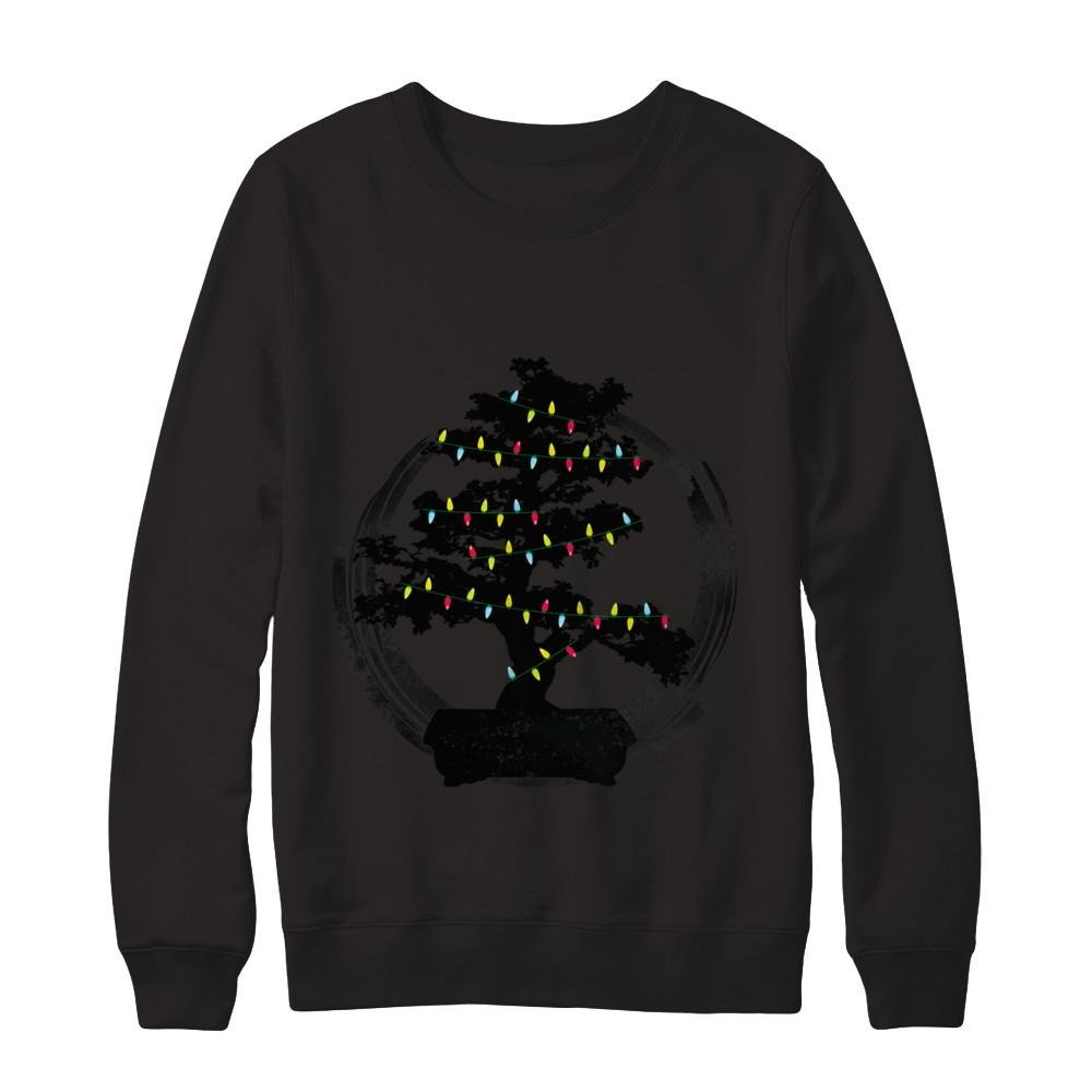 Teely Shop Men's Woman's Bonsai Tree Enso Circle Lights Christmas Gildan - Pullover Sweatshirt/Black/2XL