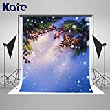 Kate 5×7ft Christmas Backdrop Snow Dots with Firtree Background Cotton Cloth Holly Xmas Winter Photo Studio Props for Winter Christmas Party Backdrop Free Wrinkle Photography