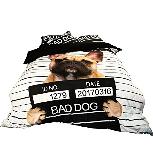 - KTLRR 3D Pirates Cat Bad Dog Monkey Bedding Sets Polyester Duvet Cover 3/4pcs Flat Sheet Cartoon Bedspread Twin Queen King Size Adults Kids Boys (King 4pcs, dog)