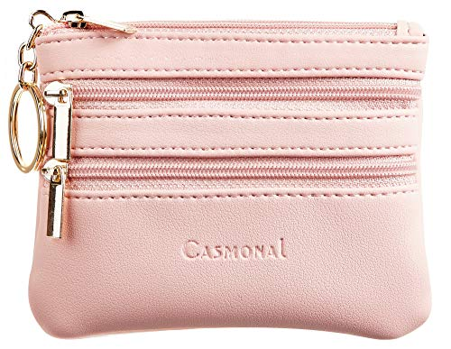 Casmonal Womens Genuine Leather Coin Change Purse Pouch Slim Minimalist Front Pocket Wallet Key Ring (Pink Lotus)
