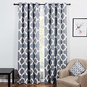 top finel quatrefoil thermal insulated grommets blackout curtains for bedroom 54 x. Black Bedroom Furniture Sets. Home Design Ideas