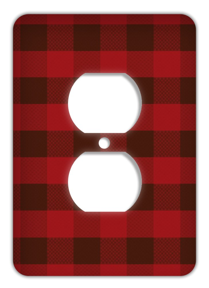 Rustic Plaid Trendy Printed Outlet Cover, Red