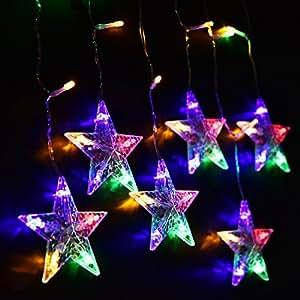 LightsEtc 280 LED String Light Curtain 9.8ft x 6.5ft Fairy Starry Multicolor Window Lights for Decor