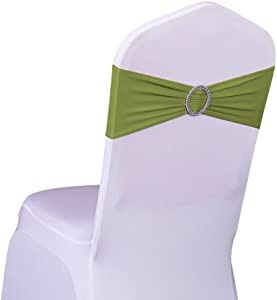 SINSSOWL Pack of 50PCS Elastic Slider Chair Sashes Spandex Chair Cover Band Bows for Wedding Decoration-Olive Green
