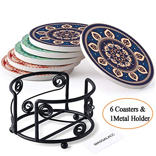 (Absorbent Coasters For Drinks with Metal Holder-set of 6-4