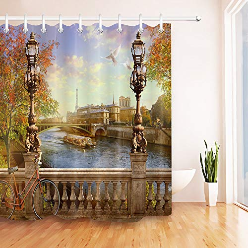 youyoutang Notre Dame de Paris Shower Curtain Waterproof Fabric 3D High-Definition Printing Does Not Fade 12 Shower Hooks 70.8X70.8 Inch Home Decor Bathroom Accessories