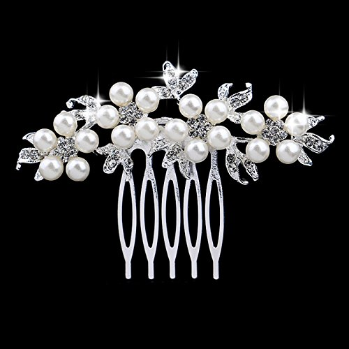 Urberry Bridal Hair Comb with Hand Painted Leaves, Pave Crystal & ()