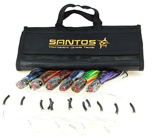 Santos Tournament Grade Tackle Small Marlin/Sailfish Offshore Big Game Trolling Lure (Striped Synergy Skirt)
