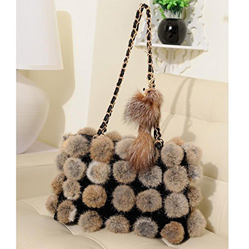 bolso vuelta cadena piel Penao Khaki señora pelo moda de 32cmx8cmx22cm cien de bolso tamaño bandolera w8IIqB