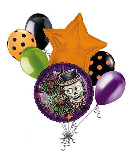 Skeleton Halloween Balloon Bouquet (7 pc Skeleton Top Hat Happy Halloween Balloon Bouquet Party Decoration Skull)