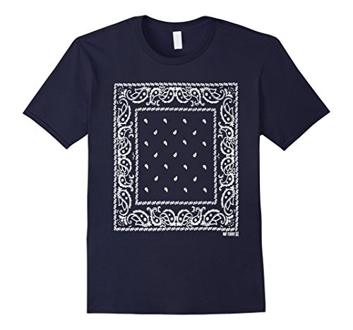Men's Navy Blue Bandana Tshirt - Navy Blue Bandana Pattern shirt 3XL Navy
