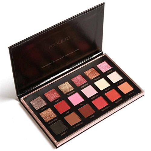 FOCALLURE 18 Colors Pearlized Color Eyeshadow Powder Eye Shadow Palette Set (A)