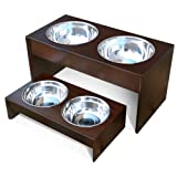 PetFusion Elevated Pet Bowl Holder in Solid Pine (Short – 4 inch height), My Pet Supplies