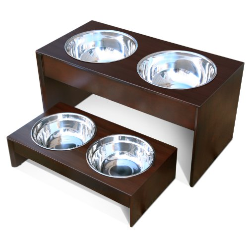 PetFusion Elevated Pet Bowl Holder in Solid Pine (Tall – 10.1 inch height), My Pet Supplies