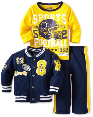 Little Rebels Baby Boys' Three Piece Little Rebels Varsity Jacket Set