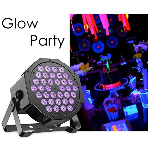 Gledto 36LED Blacklight UV LED Stage Light Par Lights DMX Black Light Fixture DJ Lighting Equipment Purple Lamp for Glow Party Neon Paint Wall Decor Dance Floor Disco Bar Concert - Studio Lamp Stage Projector