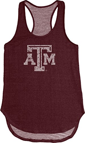 NCAA Texas A&M Aggies Adult Women NCAA Women's Tri Blend Panel Tank,Medium,Maroon Texas A&m Tailgate