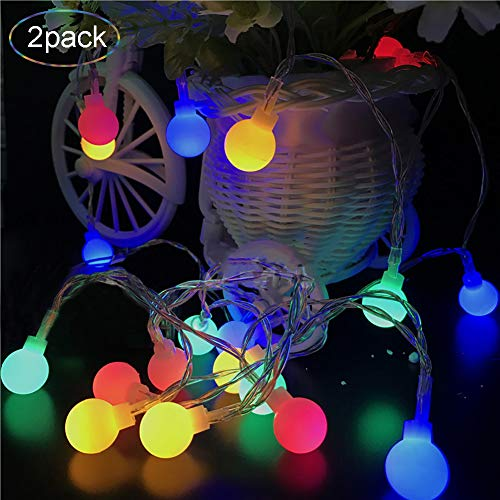 Color Changing Lights, LED Globe String Lights, 2 Pack 6.6Ft/20LEDs Transparent Cable Waterproof Lights for Thanksgiving Christmas Wedding Party Home Cafe Patio Outdoor/Indoor Décor(Multi -
