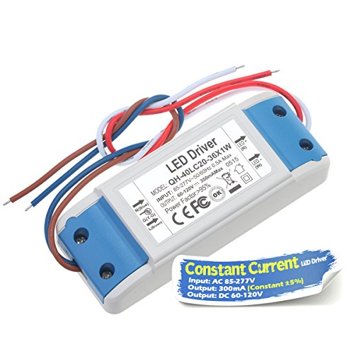 Chanzon LED Driver 300mA (Constant Current Output) 60V-120V (Input 85-277V AC-DC) (20-36) x1W 20W 24W 30W 36W Power Supply 300 mA Lighting Transformer Drivers for High Power COB Chips (Plastic Case)