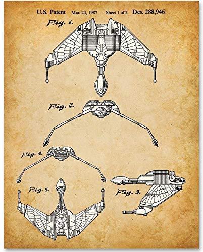 Star Trek - Klingon Bird Of Prey - 11x14 Unframed Patent Print - Great Gift for Trekkies