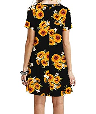 MOLERANI Women's Short Sleeve Shirt Casual Loose Swing Floral Sunflower Dress Sun Flower S