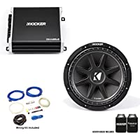 "Kicker 43C124 12"" Comp Subwoofer with 43DXA1252 DX-Series Amplifier and wire kit"