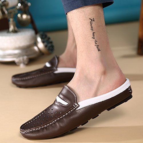 Go Tour Mens Comode Pantofole In Morbida Pelle Scamosciata Slip-on Pera Scarpe 1 Marrone Scuro