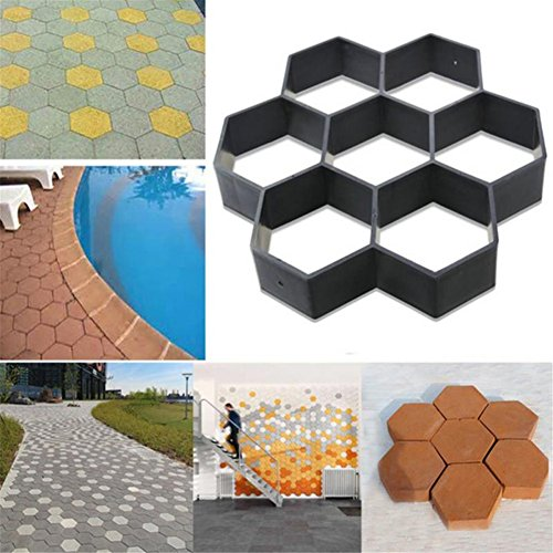 Hexagon Garden Pavement Mold Garden Walk Pavement Concrete Mould DIY Manually Paving Cement Brick Stone Road Concrete Molds Pathmate Moulds (Brick Ideas Backyard Patio)