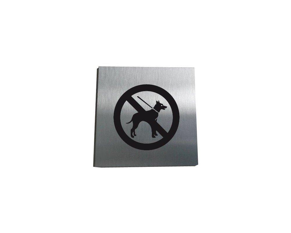 200x200 mm AUA SIGNALETIQUE Plaque Alu Bross/é Chien Interdit