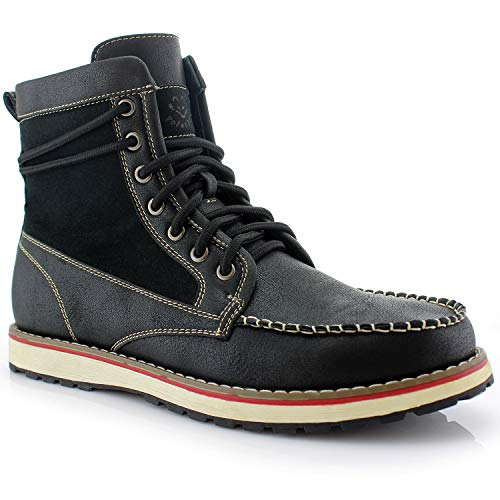 Polar Fox Jasper MPX508013PL Mens Casual Moc Toe Heritage Leather Lining Wedge Boots - Black, Size 11