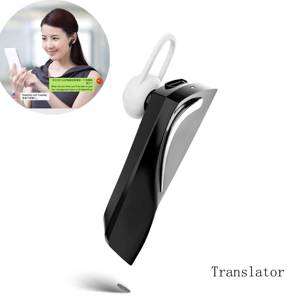 Smart Language Translator Device, Electronic Translator Portable Bluetooth Multi-Language Translation,28 Languages Wireless Translator Headset for Learning Travelling Shopping Business Meeting (Black)